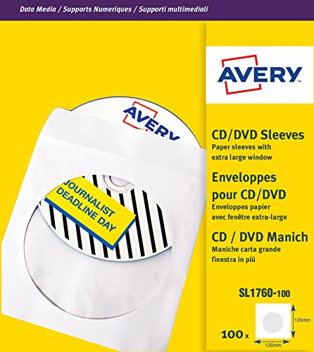 Avery 279880 SL1760-100 Paper Sleeves for CDs and DVDs with Clear Window, 100 Sleeves Per Pack from AVERY