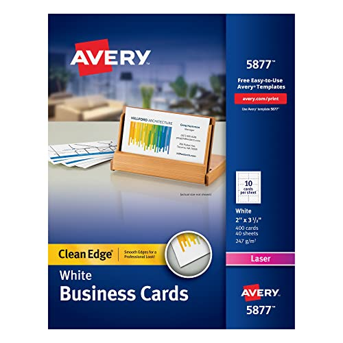 Avery Printable Business Cards, Laser Printers, 400 Cards, 2 x 3.5, Clean Edge (5877), White from AVERY