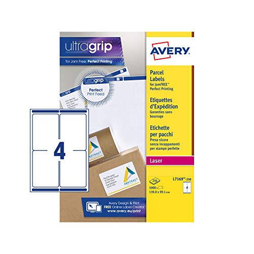 Avery L7169 Self Adhesive Parcel Shipping Labels, Laser Printers, 4 Labels Per A4 Sheet, 1000 Labels, UltraGrip, White from AVERY