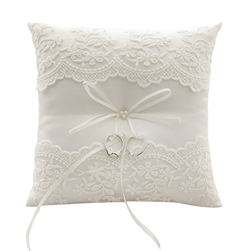 Awtlife Lace Wedding Ring Pillow Pearl Cushion Bearer 8.26 Inch from Awtlife