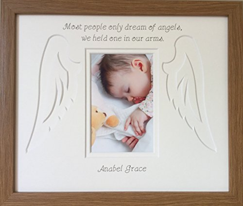 Personalised Baby Infant Child Angel Wings Memorial Photo Frame (Photo size 6 x 4 portrait, Oak) from Azana Photo Frames