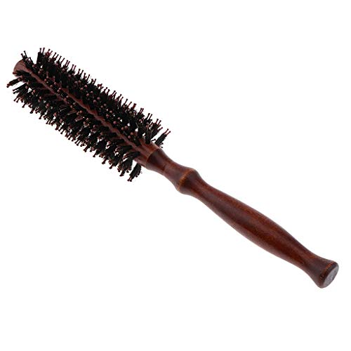 Heat Resistant Detangling Round Styling Hairbrush Blow Drying & Curling Rolled Combs with Wooden Handle for Women - Dark Brown, S from B Blesiya