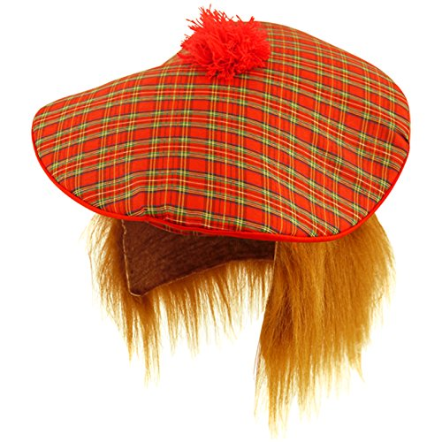 Fancy dress style Tartan hat Tam o Shanter Scottish hat with ginger wig from B&S Trendz