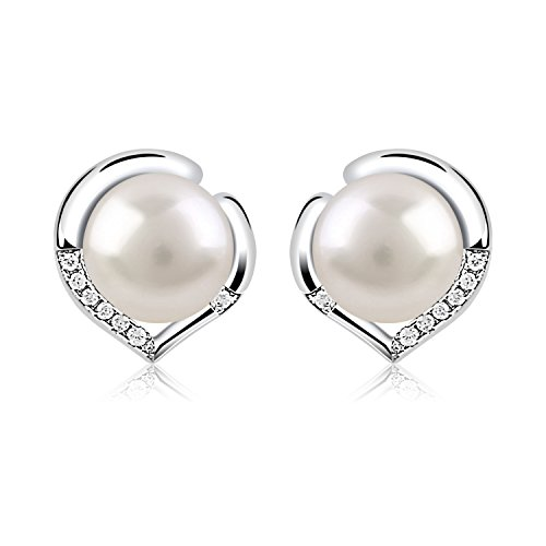 B.Catcher 925 Sterling Silver Freshwater 10mm Pearl Studs Earrings from B.Catcher