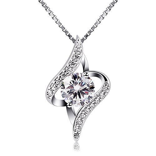 "B.Catcher Women Silver Necklaces 925 Sterling Silver Necklace with Cubic Zirconia, 18"" from B.Catcher"