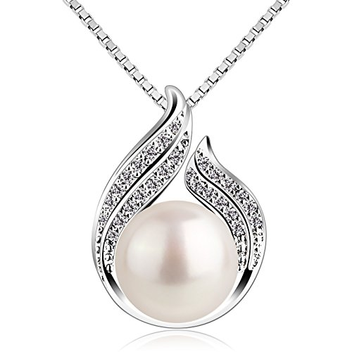 "B.Catcher Pearl Necklace Freshwater Bud 925 Sterling Silver ""Hug with Pearl"" Pendant Necklaces 18"" for Women Pearl Jewellery from B.Catcher"