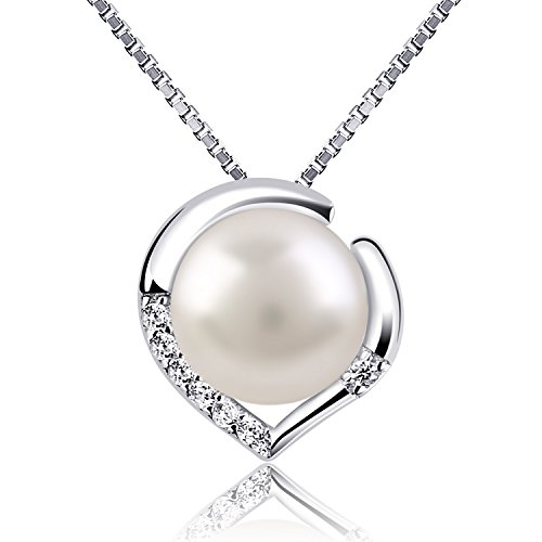 B.Catcher Silver Necklace Pearl Jewellery 925 Freshwater Pearl Heart Pendant Nekclaces from B.Catcher