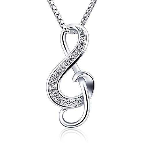 B.Catcher Silver Necklaces Music Note Pendant Necklace S925 Sterling Silver Women Jewellery from B.Catcher