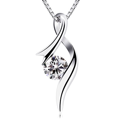 B.Catcher Women Necklace Sterling Silver Cubic Zirconia Pendant Necklaces from B.Catcher