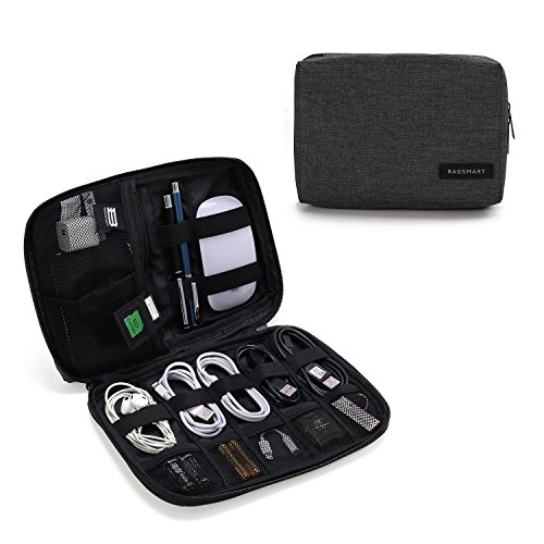 BAGSMART Electronics Accessories Organiser Bag, Portable Electronics Carrying Case Travel Small for Cables, Powerbank, Earphone, USB sticks, SD Card (Black) from bagsmart