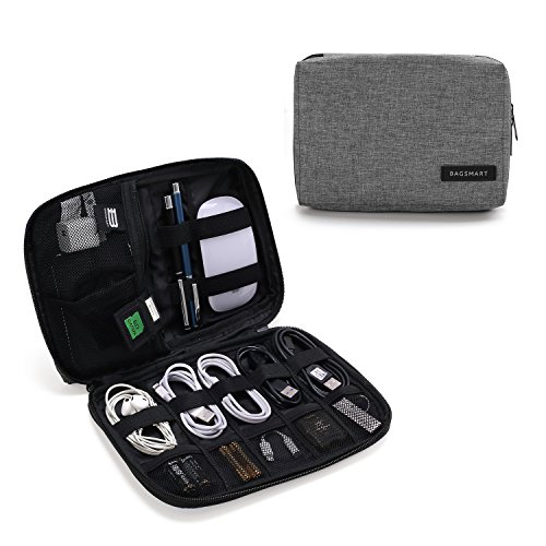 BAGSMART Electronics Accessories Organiser Bag, Portable Electronics Carrying Case Travel Small for Cables, Powerbank, Earphone, USB sticks, SD Card (Grey) from bagsmart
