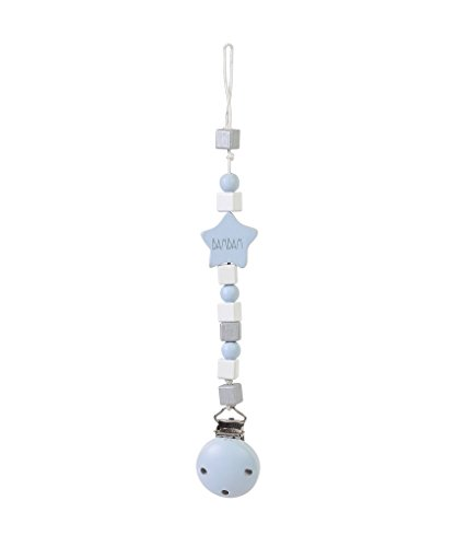 Bam bam pacifier dummy clip -Grey Pink or Blue with wooden blocks - clip to clothing stops loss (Blue) from BAM!