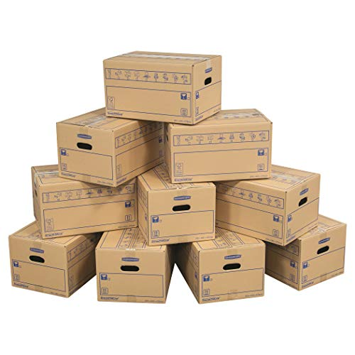 SmoothMove Heavy Duty Double Wall Cardboard Moving and Storage Boxes with Handles - 39 Litre, 26 x 32 x 47 cm (10 Pack) from BANKERS BOX