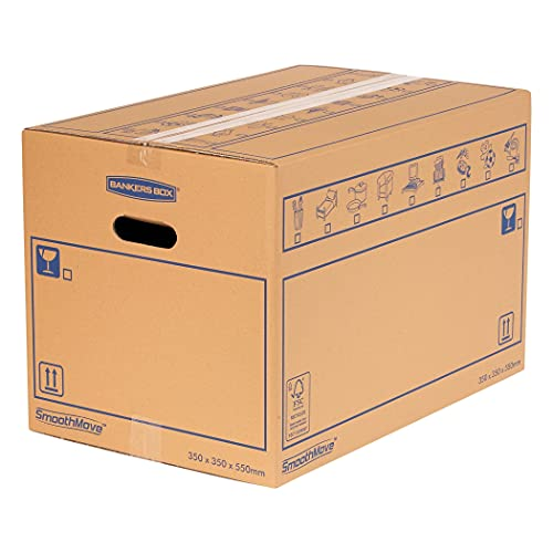 SmoothMove Heavy Duty Double Wall Cardboard Moving and Storage Boxes with Handles - 67 Litre, 35 x 35 x 55 cm (10 Pack) from BANKERS BOX