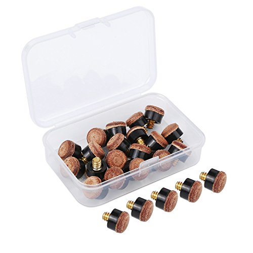 20 Pieces Screw on Tips 10 mm Cue Tips with Plastic Storage Box for Pool Cues and Snooker, Brown from BBTO