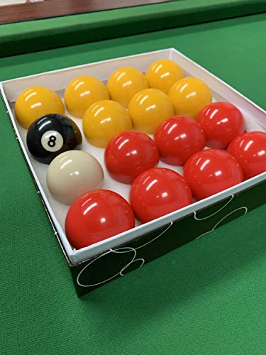 "Red and Yellow 2"" Pool Ball Set (1 7/8 Inch Cue Ball) from BCE"