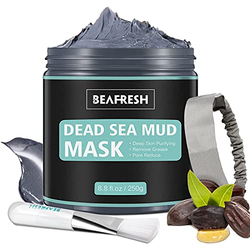 Natural Dead Sea Mud Mask - Headband & Brush included for Face and Body Cleansing Relaxing Detox Treatment Reduce Pores Purifying Face Mask for Acne Blackheads Oily Skin from BEAFRESH