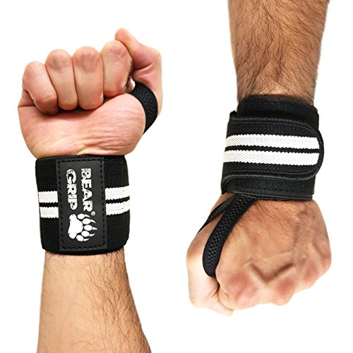 BEAR GRIP - Premium Weight Lifting Wrist Support wraps, (Sold in pairs) (Black/White/Edge) from BEAR GRIP
