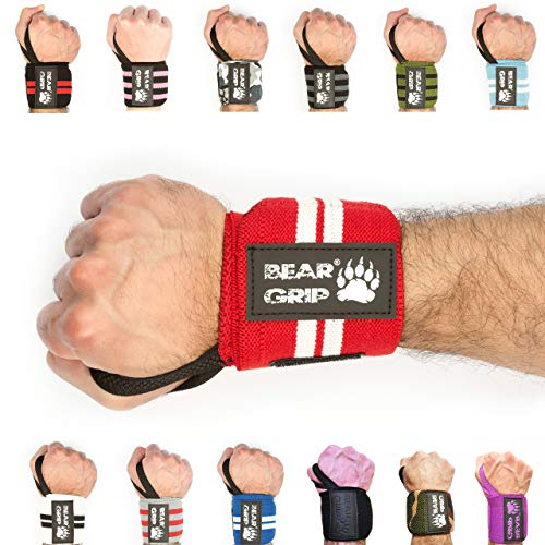 BEAR GRIP - Premium weight lifting wrist support wraps, (Sold in pairs) (Red/white) from BEAR GRIP