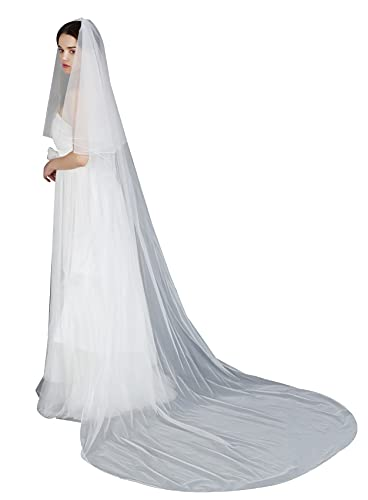 Wedding Bridal Veil Long Trailing 2 Tier Chapel Tulle With Metal Comb White Ivory from BEAUTELICATE