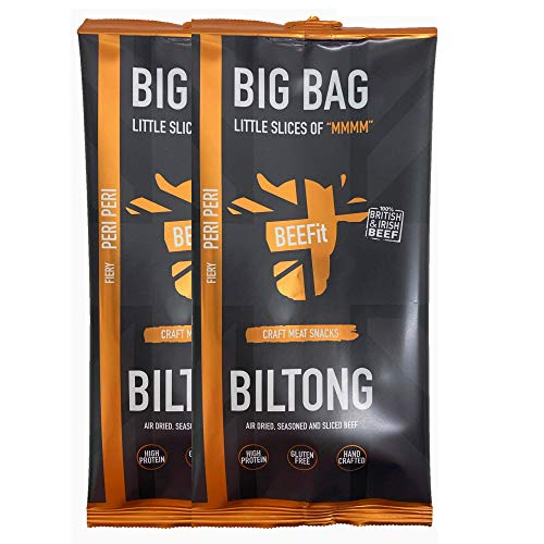 BEEFit Snacks 500g Bag of Peri Peri Biltong, High Protein, Healthy, Low Sugar, Carb Killer Snack - Not Beef Jerky (2x500g) from BEEFit
