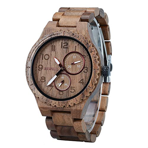 BEWELL Men's Wooden Watches Analogue Japanese Quartz Watch with Wood Bracelet Date Calendar Round Timepiece (Black) from BEWELL