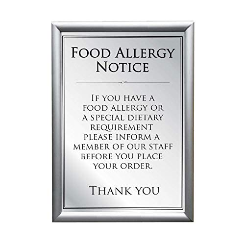 Food Allergy Notice Sign with Silver Frame A4 from BHMA Limited