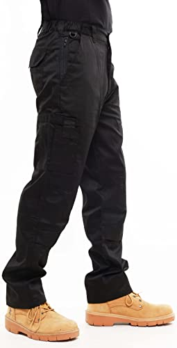 Mens Combat Cargo Work Trousers Size 30 to 52 With KNEE PAD POCKETS - By BKS (34 LONG, Black) from BKS
