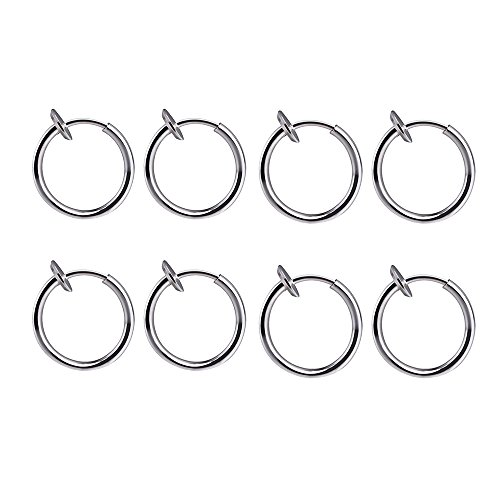 316L Surgical Stainless Steel 8 Clip On Fake Piercings Rings Ear Nose Lip Earrings Body Jewelry from BODYA