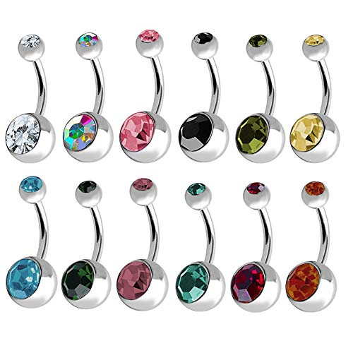 "Lot of 12 Double Jeweled CZ Crystal Gem Belly Button Navel Rings 316L Surgical Steel 14 Gauge (12 Pieces)14G 7/16"" from BODYA"