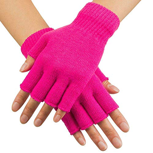 Boland Fingerless Gloves for Adults, Pink, One Size, 01906 from Boland