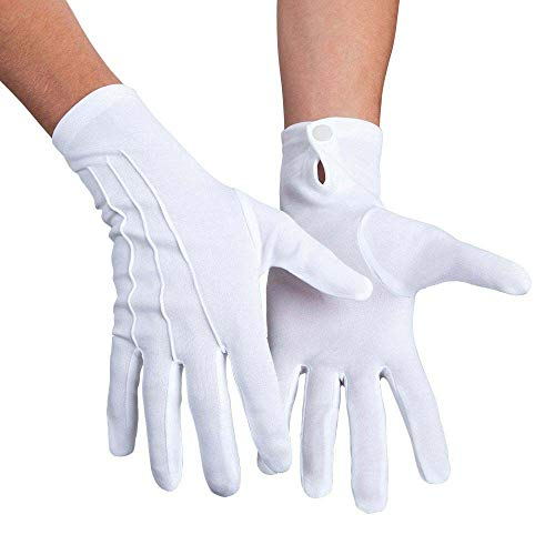 Boland 10102434 03081 Basic XL Gloves with Push, White with Button, One Size from Boland