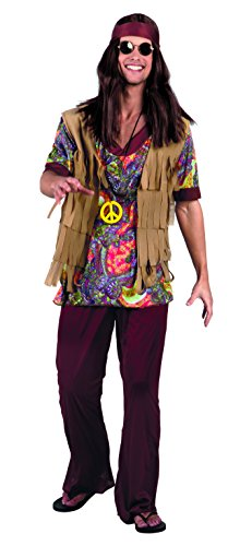 1960s Hippy Mens Fancy Dress Retro Groovy 60s Hippie Adults Costume Outfit from Boland