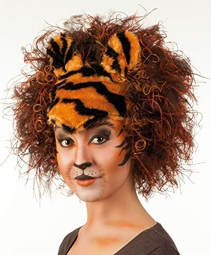 Boland 10107160 BOL86218 Tigrotta Curly Wig with Plush Forehead and Ears, Multicolor from Boland