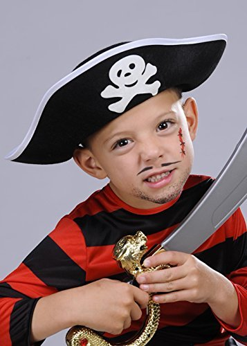 Pirate Captain Hat Kids Fancy Dress Caribbean Buccaneer Boys Girls Accessory from Boland