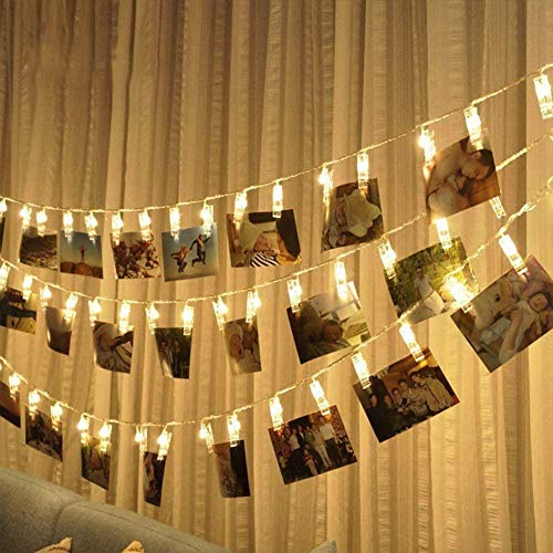 BOLWEO Battery Operated LED Photo Clips Peg String Lights,30 Picture Clips 10Ft Copper Wire Fairy Lights,for Home Wall Christmas Room Indoor Outdoor Decorations,Hanging Photos Pictures Cards,Warm White from BOLWEO