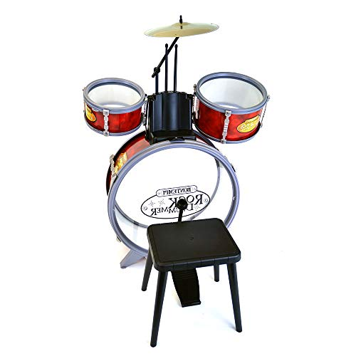 Bontempi 51 4504 4 Pieces Drum Set with Stool, Red, Multi-Color from Bontempi