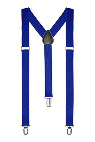 Boolavard® TM Braces/Suspenders One Size Fully Adjustable Y Shaped With Strong Clips (Blue) from BOOLAVARD