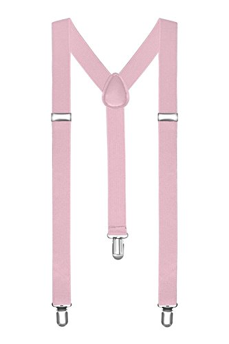 Boolavard® TM Braces / Suspenders One Size Fully Adjustable Y Shaped With Strong Clips (Light Pink) from BOOLAVARD