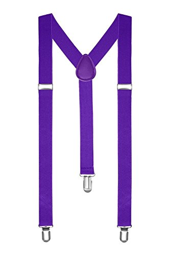 Boolavard® TM Braces / Suspenders One Size Fully Adjustable Y Shaped With Strong Clips (Purple) from BOOLAVARD