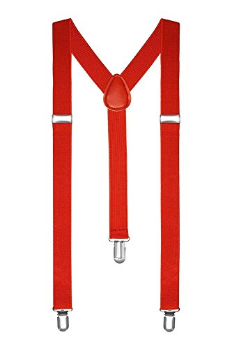 Boolavard® TM Braces/Suspenders One Size Fully Adjustable Y Shaped With Strong Clips (Red) from BOOLAVARD