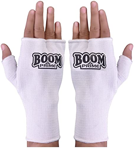 BOOM Prime White Boxing Inner Gloves MMA Fist Protector Martial Arts Muay Thai Hand Support Kick Boxing UFC Mitts (Free UK Shipping) (S/M) from BOOM Prime
