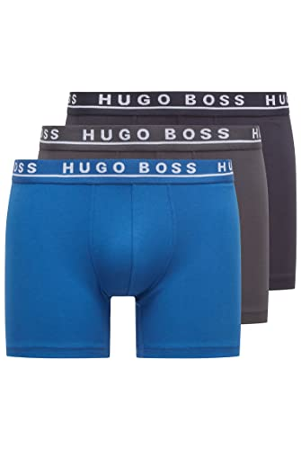 BOSS Men's Boxer Brief CO/EL Shorts, (Open Blue 487), Large (Pack of 3 from BOSS
