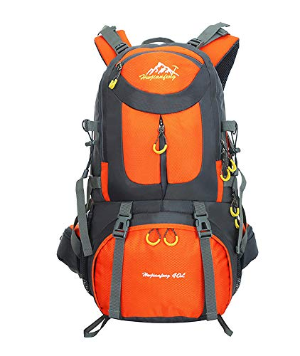 40L / 50L / 60L Trekking Rucksack - Outdoor Sports Camping Hiking Daypacks Waterproof Hiking Backpack Mountaineering Bag, Orange, 40L from BOZEVON