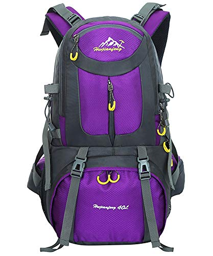 40L / 50L / 60L Trekking Rucksack - Outdoor Sports Camping Hiking Daypacks Waterproof Hiking Backpack Mountaineering Bag, Purple, 40L from BOZEVON