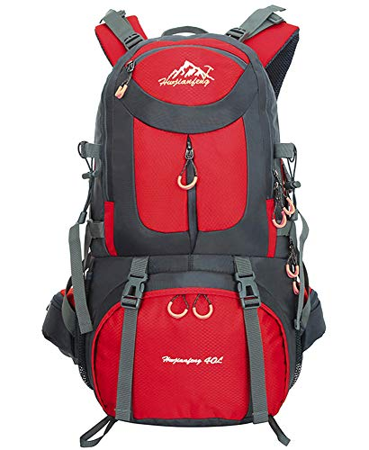 40L / 50L / 60L Trekking Rucksack - Outdoor Sports Camping Hiking Daypacks Waterproof Hiking Backpack Mountaineering Bag, Red, 40L from BOZEVON