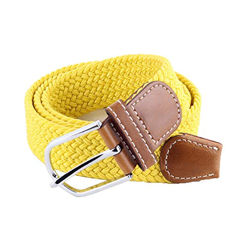 BOZEVON Elastic Woven Belt - Multi-colours Elasticated Braided Stretch Fabric Belt For Men Women Yellow from BOZEVON