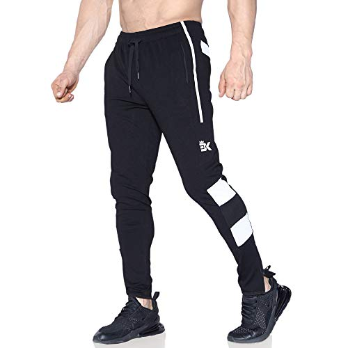 BROKIG Mens Gym Jogging Bottoms Zip Joggers Sweatpants Running Tracksuit Bottom with Zipper Pockets (Small, Black) from BROKIG