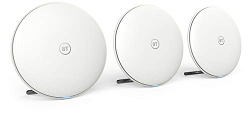 BT Whole Home Wi-Fi, Pack of 3 Discs, Mesh Wi-Fi for seamless, speedy (AC2600) connection, Wi-Fi everywhere in medium to large homes, App for complete control and 2 year warranty from BT