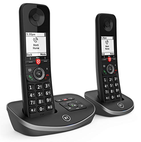 BT Advanced Cordless Home Phone with 100% Nuisance Call Blocking and Answering Machine, Twin Handset Pack from BT